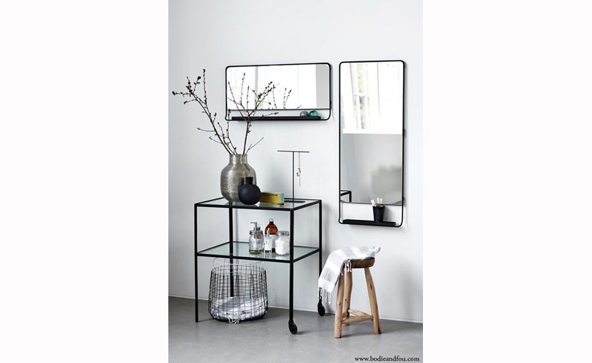 Black framed mirror with shelf available at the ultimate for Long black wall mirror
