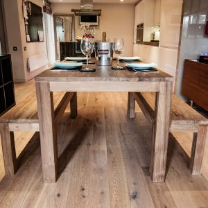 Karang Reclaimed Teak Dining Table and Benches