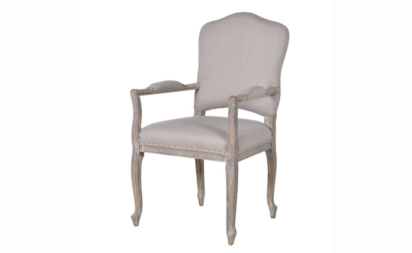 French Grey Dining Chair With Arms With Free Delivery