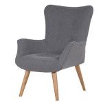 Grey Fabric Wing Chair