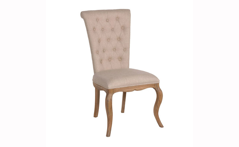 Linen Button Back Dining Chair With Free Delivery