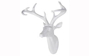 Large White Resin Deer Head