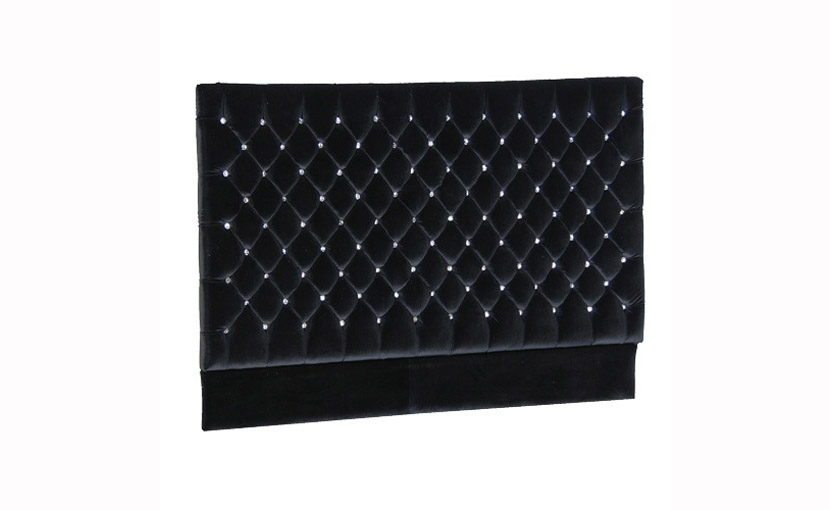 Luxury Black Velvet Jewelled Headboard