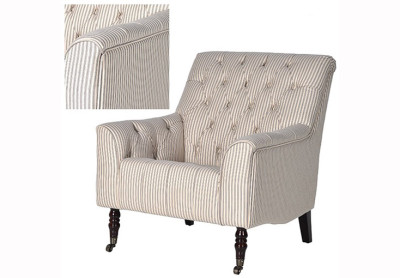 Natural Weave Striped Armchair