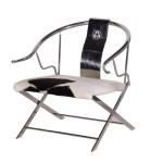 Stainless Steel & Cowhide Armchair