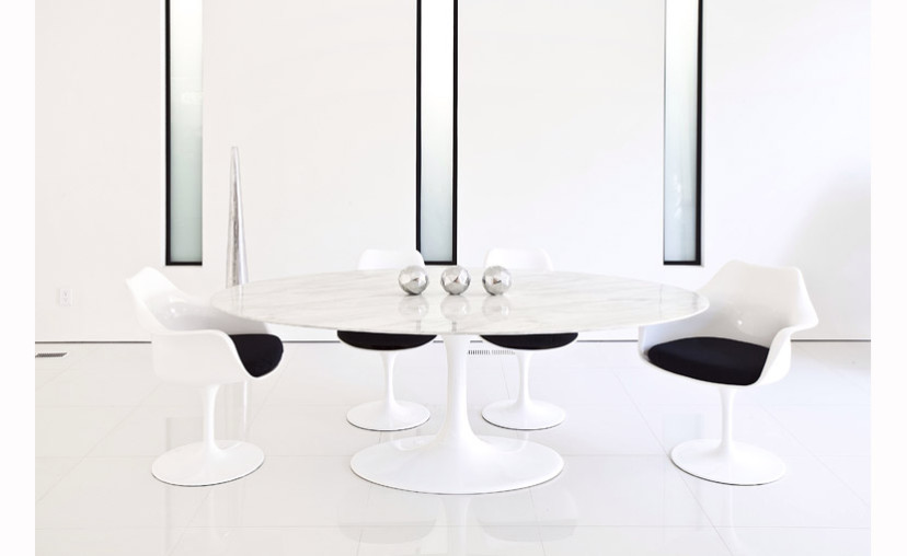 Saarinen Tulip Oval Marble Dining Table  Mminc Delivery - Oval marble dining table