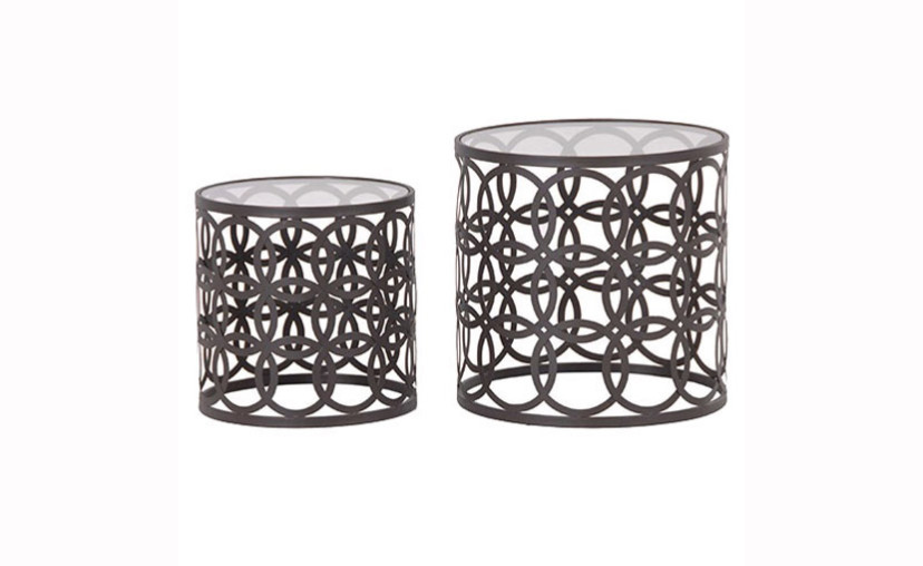 Set Of 2 Round Metal Nesting Tables
