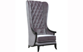 Tall Porters Silver Velvet Chair