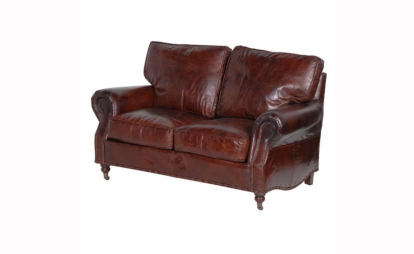 Vintage Brown Leather 2 Seater Sofa