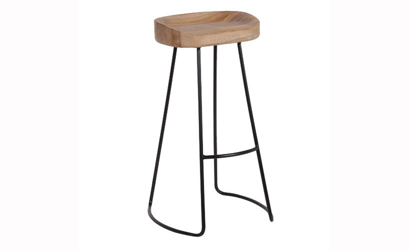 Weathered Oak Metal Bar Stool With Free Delivery