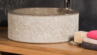 GREY CYLINDRICAL STONE SINK WITH HAMMERED OUTER FINISH – 40 X 15CM