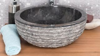 BLACK STONE SINK WITH CARVED EXTERIOR PATTERN – 40 X 15CM