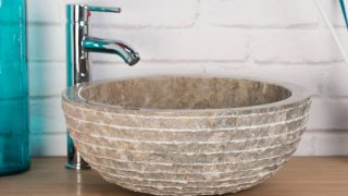 GREY STONE SINK WITH CARVED EXTERIOR PATTERN – 40 X 15CM