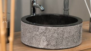 BLACK CYLINDRICAL STONE SINK WITH HAMMERED OUTER FINISH – 40 X 15CM